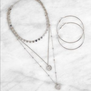 Heart Layered Necklace with Hoop Earrings set